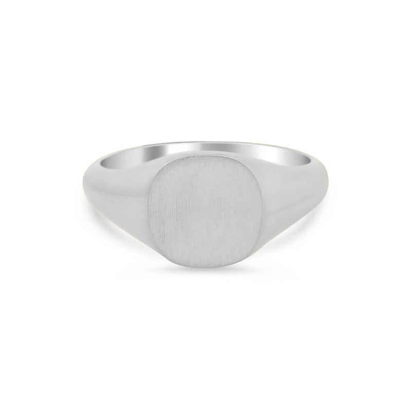 Women's Square Signet Ring - Small Signet Rings deBebians Sterling Silver Solid Back