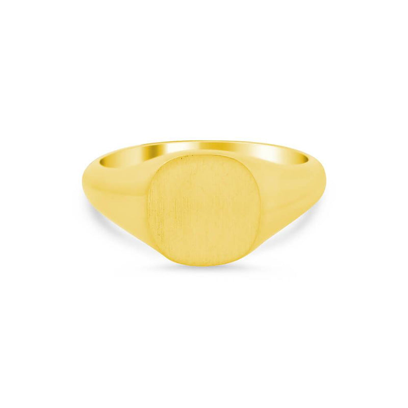 Women's Square Signet Ring - Small Signet Rings deBebians 14k Yellow Gold Solid Back