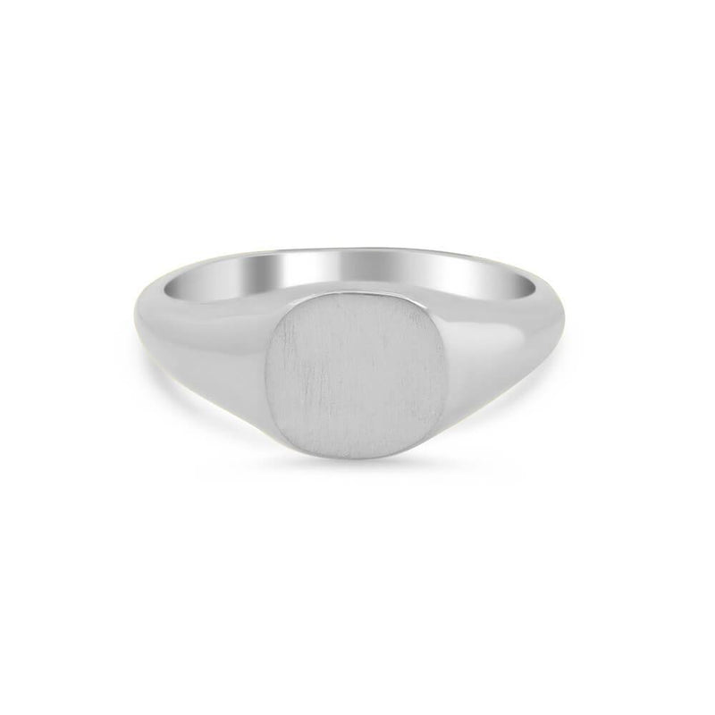 Women's Square Signet Ring - Extra Small Signet Rings deBebians Sterling Silver Solid Back