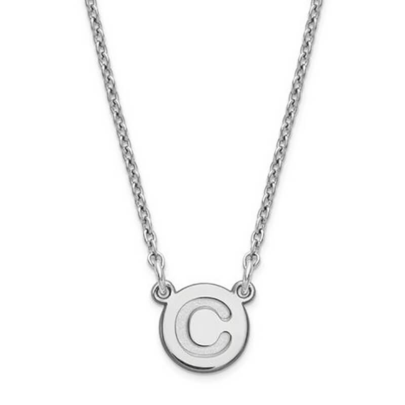 Sterling Silver Tiny Circle Initial Pendant Necklaces deBebians