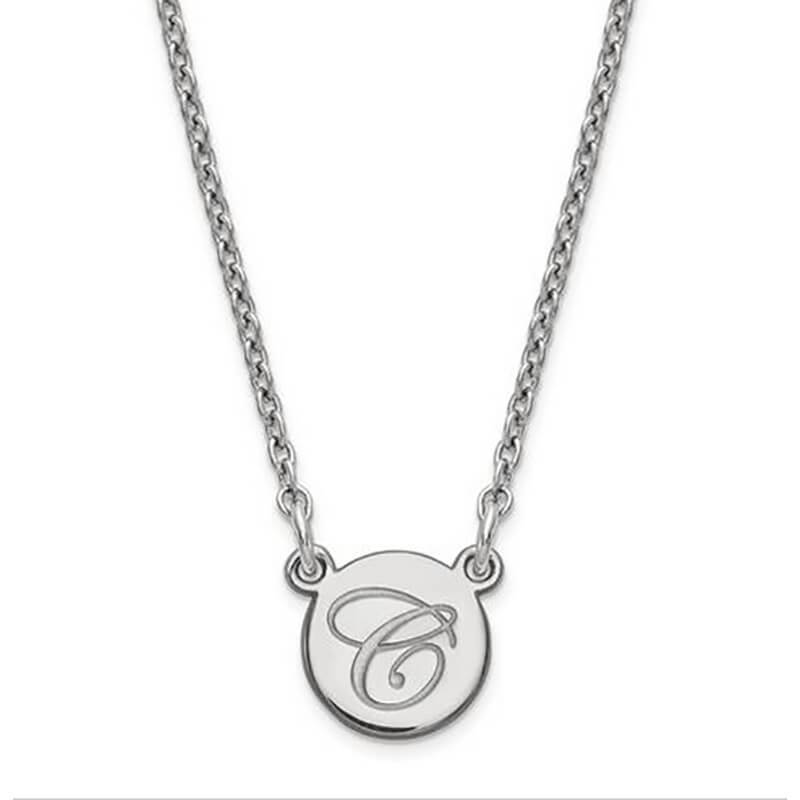 Sterling Silver Tiny Circle Script Initial Pendant Necklaces deBebians