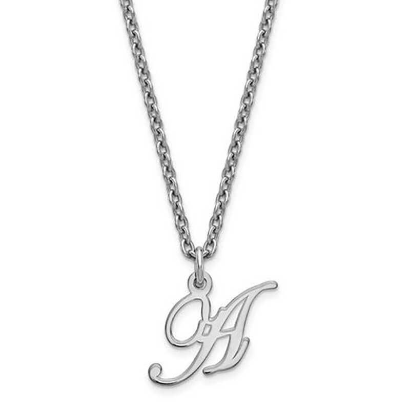 Script Initial Letter Pendant in Sterling Silver Necklaces deBebians