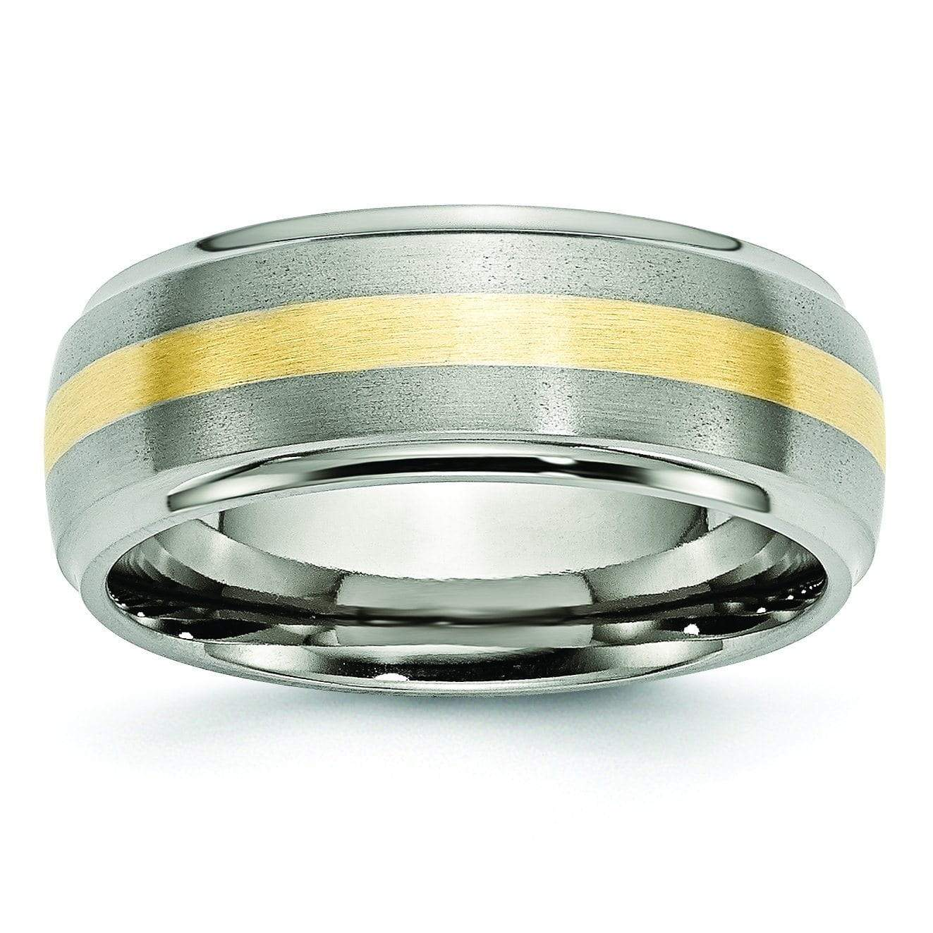 Titanium and Gold Mens Wedding Band Titanium Wedding Rings deBebians