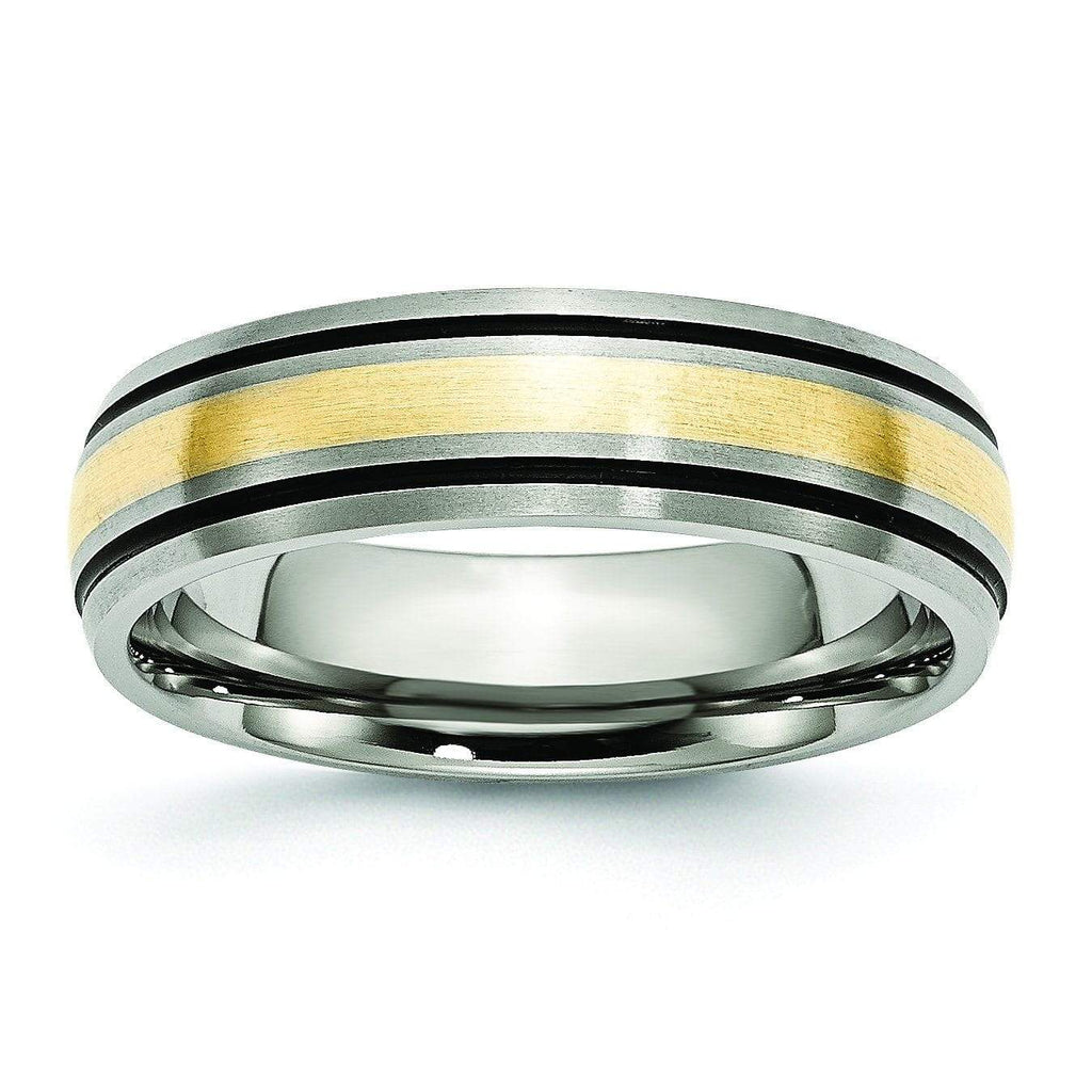 14k Yellow Gold & Black Inlay Titanium Ring Matte Finish in 6mm