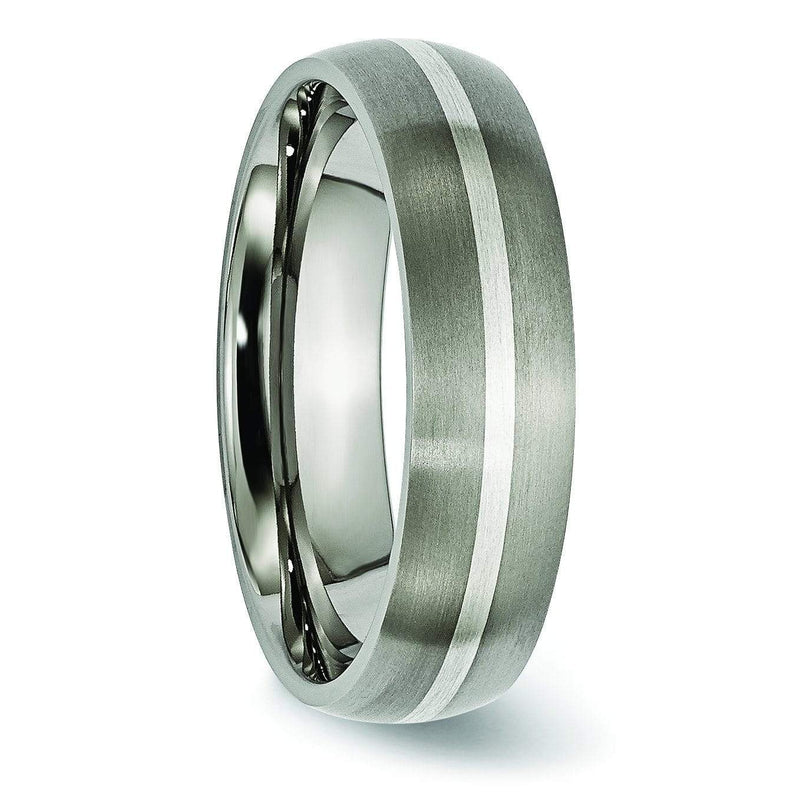 Titanium and Silver Ring Matte Finish in 6mm Aircraft Grade Titanium Titanium Wedding Rings deBebians