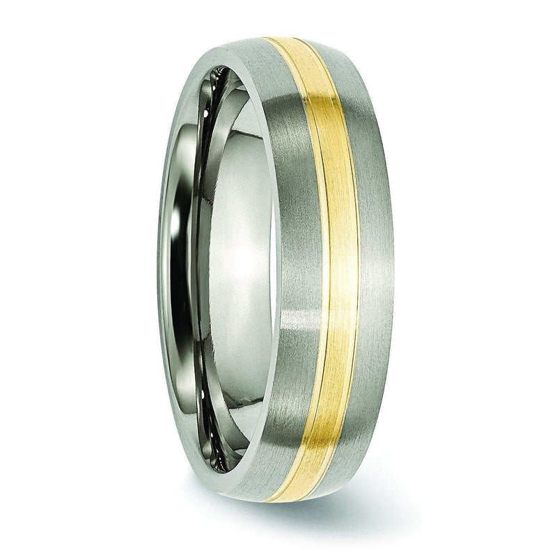 14k Yellow Gold Inlay Titanium Ring Matte Finish 6mm Titanium Wedding Rings deBebians