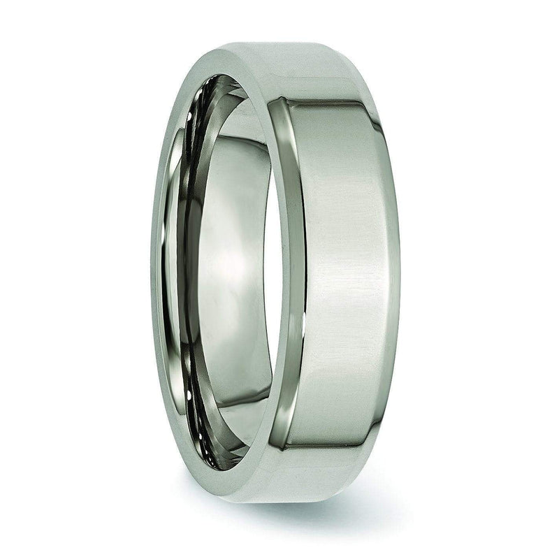 6mm Polished Titanium Wedding Ring with Beveled Edges