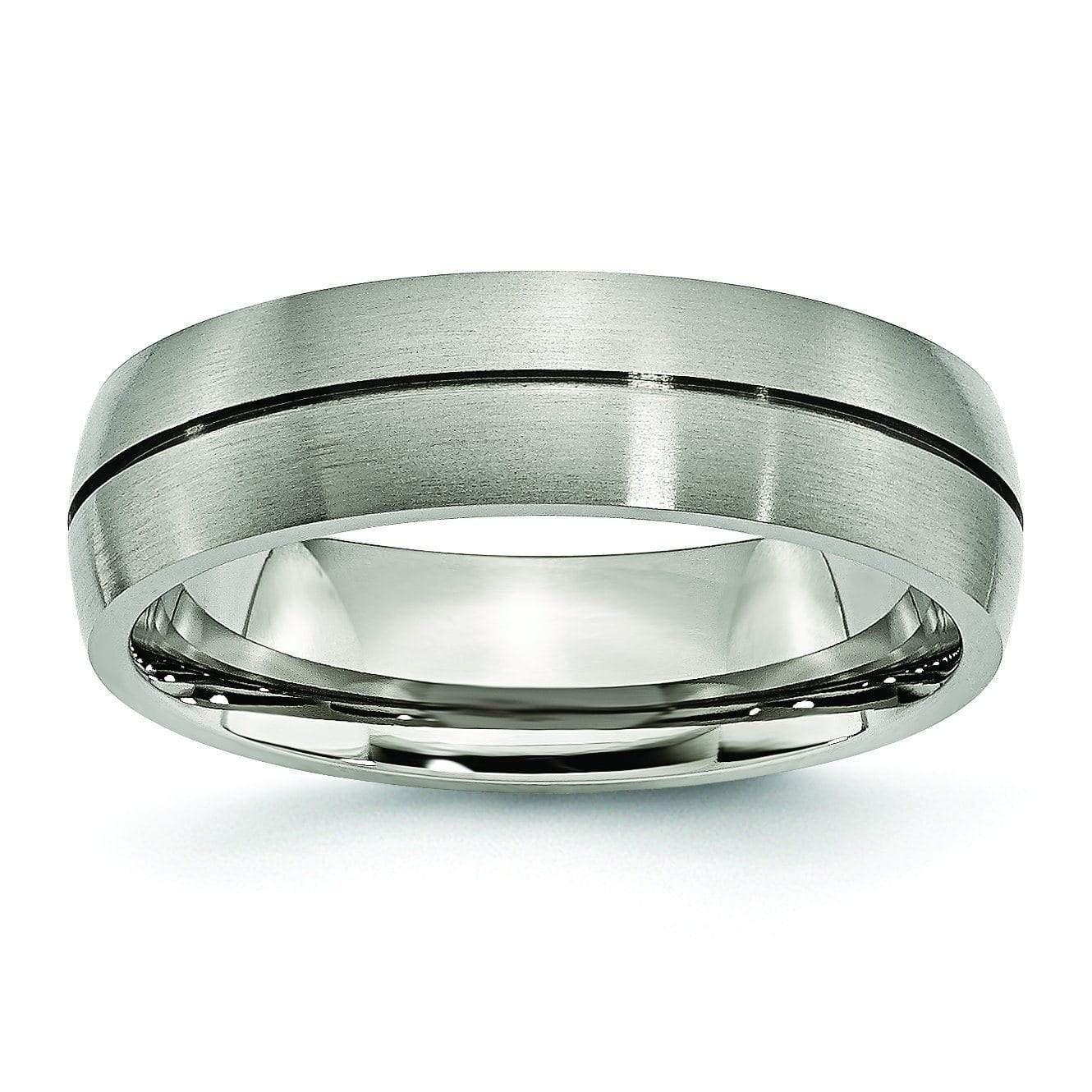 Grooved Titanium Ring Matte Finish in 6mm Aircraft Grade Titanium Titanium Wedding Rings deBebians