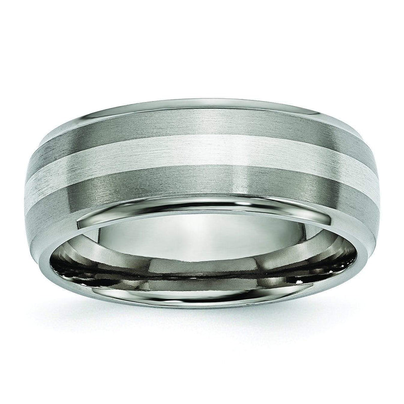Titanium and Silver Ring Matte and High Polish Finish in 8mm Titanium Wedding Rings deBebians