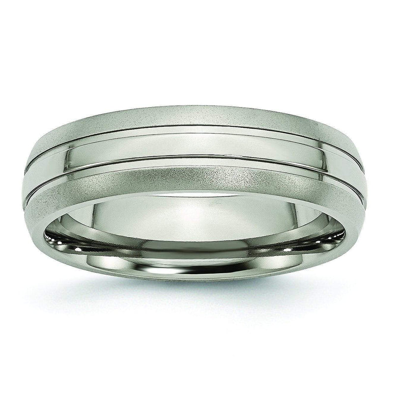 Grooved Mens Titanium Wedding Ring 6mm Titanium Wedding Rings deBebians