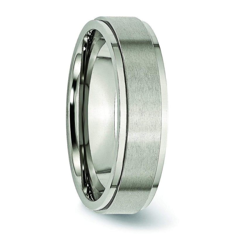 6mm Step Edge Brushed Titanium Ring Titanium Wedding Rings deBebians
