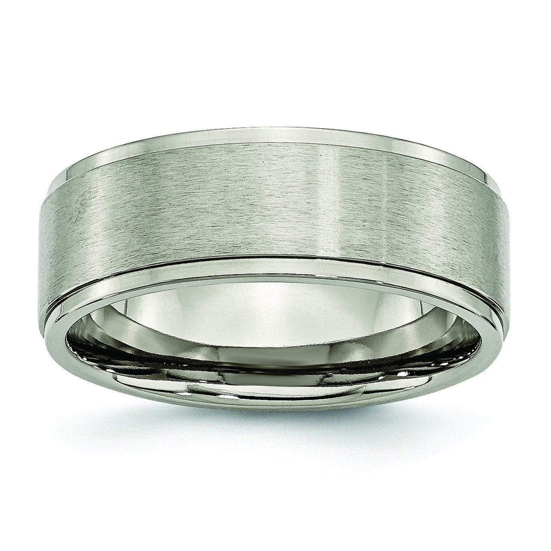 Titanium Ring with Black Edges & Matte Finish in 8mm
