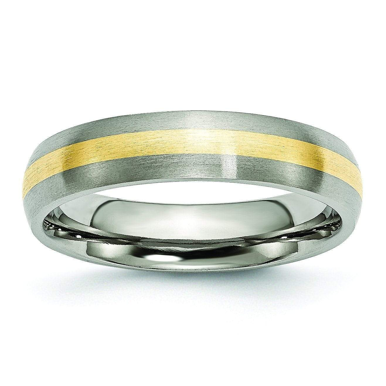14k Yellow Gold Inlay Titanium Ring Matte Finish in 5mm Titanium Wedding Rings deBebians