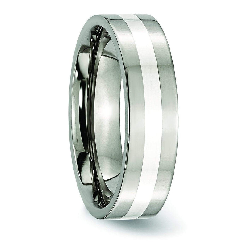 Titanium and Silver Ring High Polish Finish in 6mm Titanium Wedding Rings deBebians