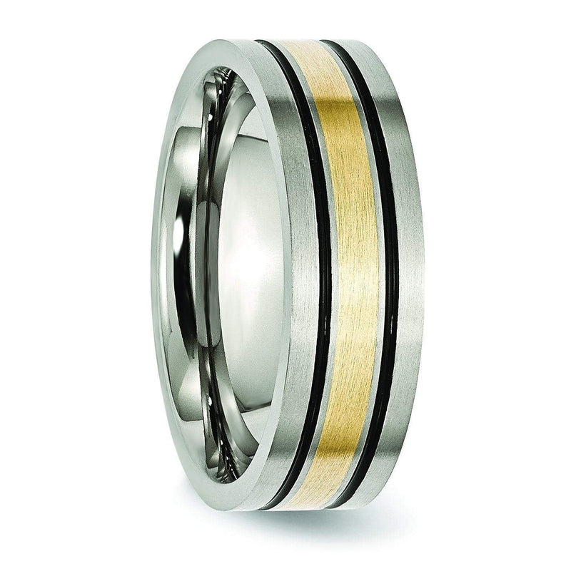 14k Yellow Gold & Black Inlay Titanium Ring Matte Finish in 7mm Titanium Wedding Rings deBebians