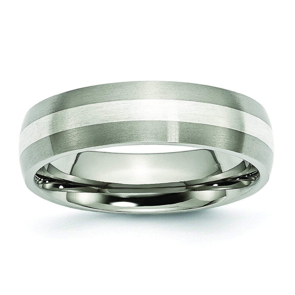 Titanium and Silver Wedding Band Matte Finish in 6mm Titanium Wedding Rings deBebians