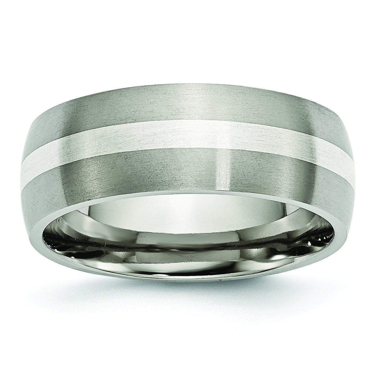 Titanium and Silver Wedding Band Matte Finish in 8mm Titanium Wedding Rings deBebians