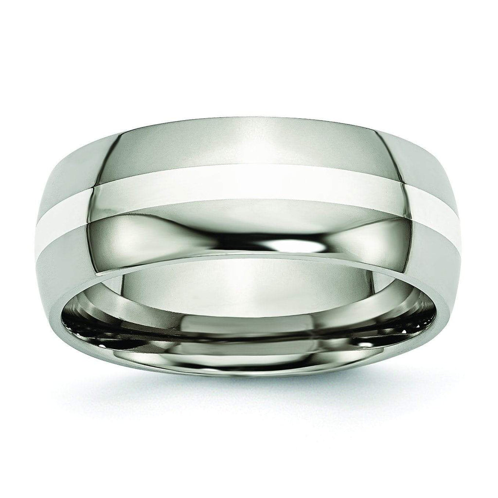 Titanium Ring  Silver Inlay High Polish Finish in 8mm