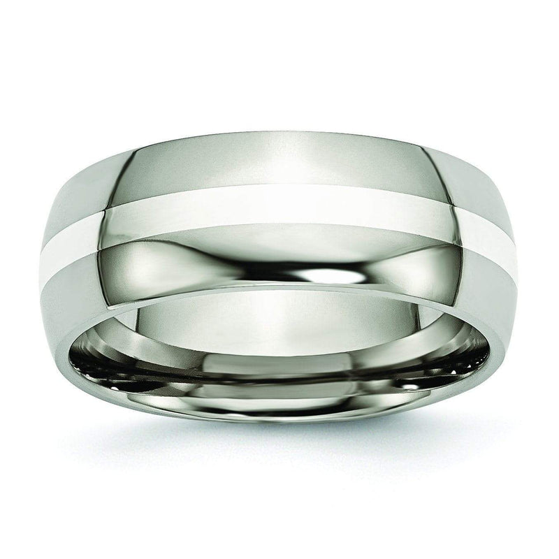 Titanium Ring Silver Inlay High Polish Finish in 8mm Titanium Wedding Rings deBebians