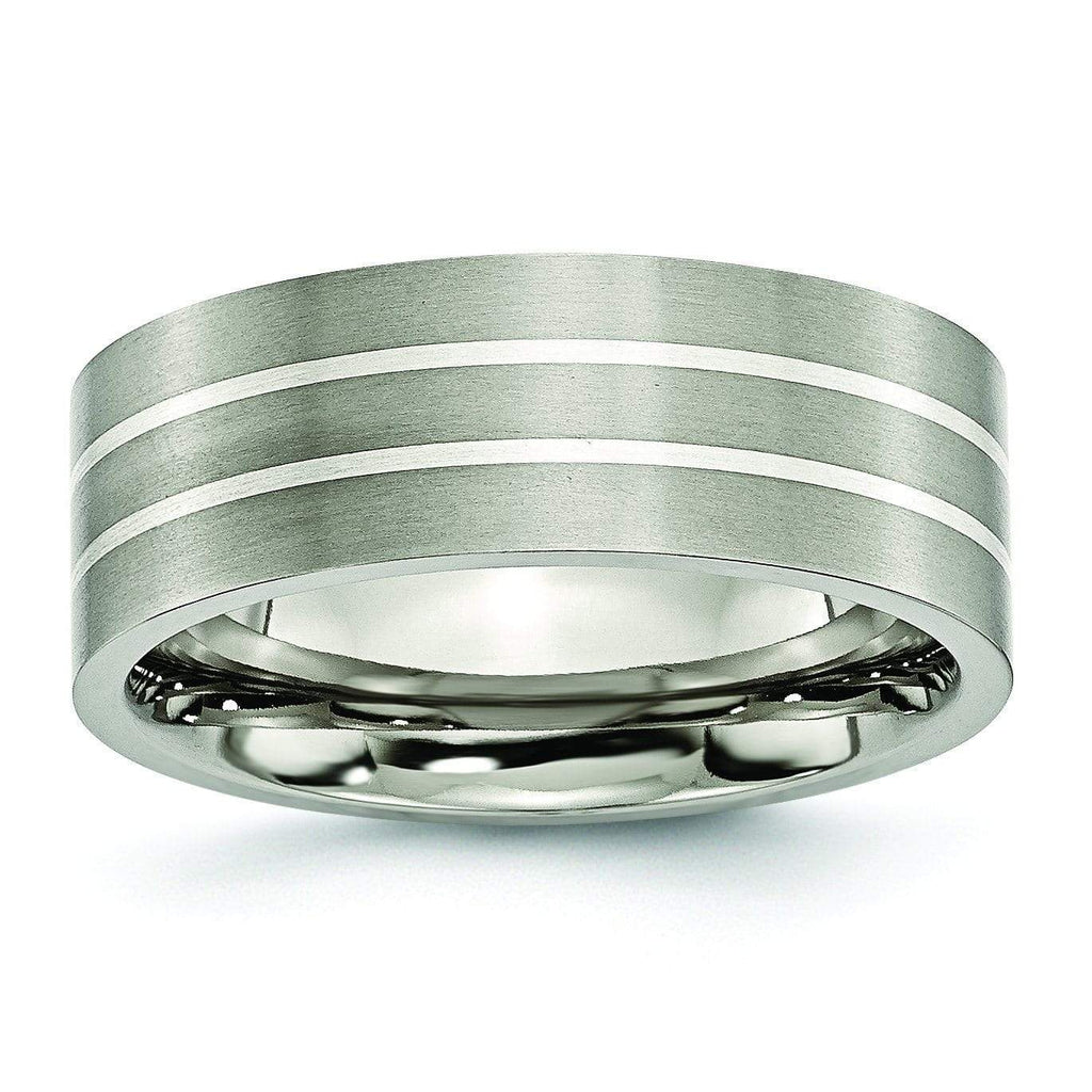 Silver Inlay Titanium Ring for Men Matte Finish in 8mm