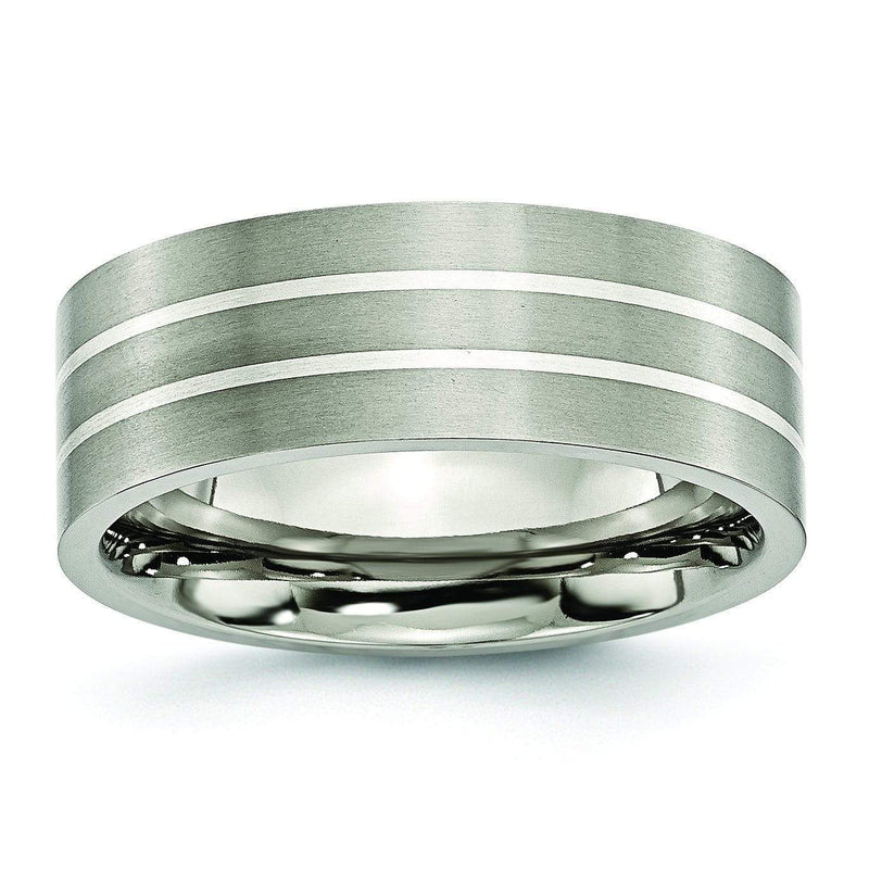 Brushed Platinum Ring with Two Grooves