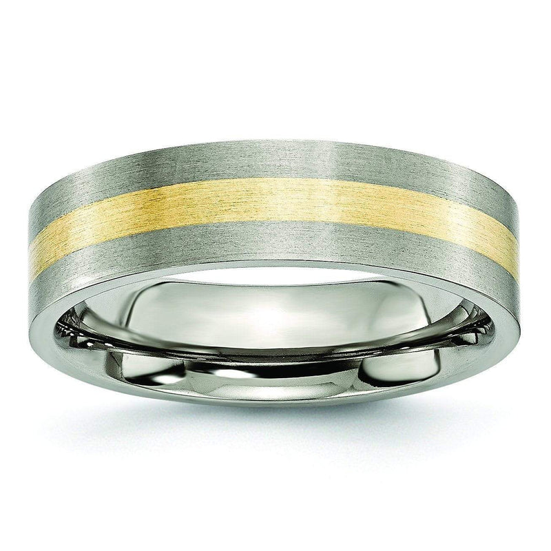 14k Yellow Gold Inlay Titanium Ring Flat Matte Finish in 6mm