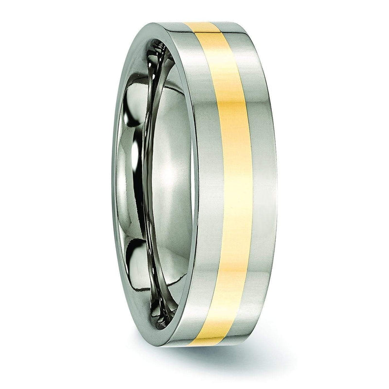 14kt Yellow Gold Inlay Titanium Ring Polished Finish in 6mm Titanium Wedding Rings deBebians
