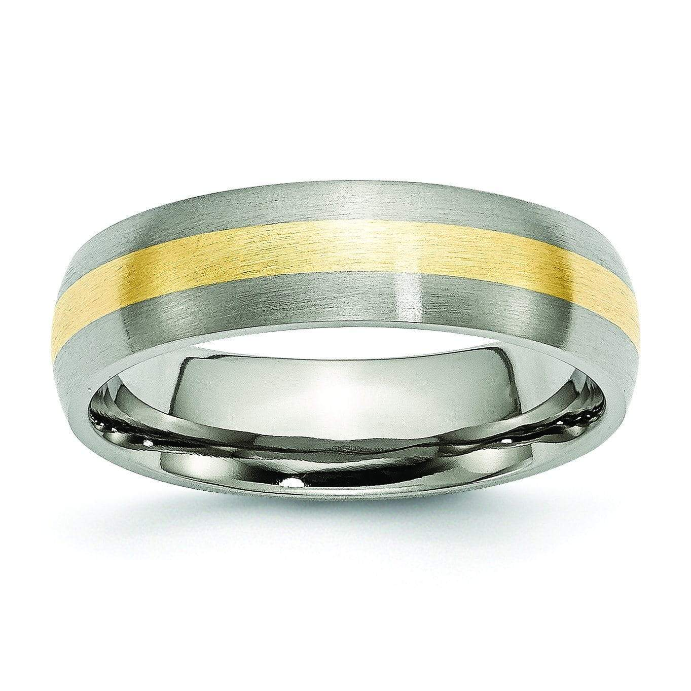 14k Yellow Gold and Titanium Ring Matte Finish in 6mm Titanium Wedding Rings deBebians