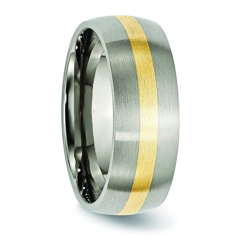 14k Yellow Gold Inlay Titanium Ring Matte Finish in 8mm Titanium Wedding Rings deBebians