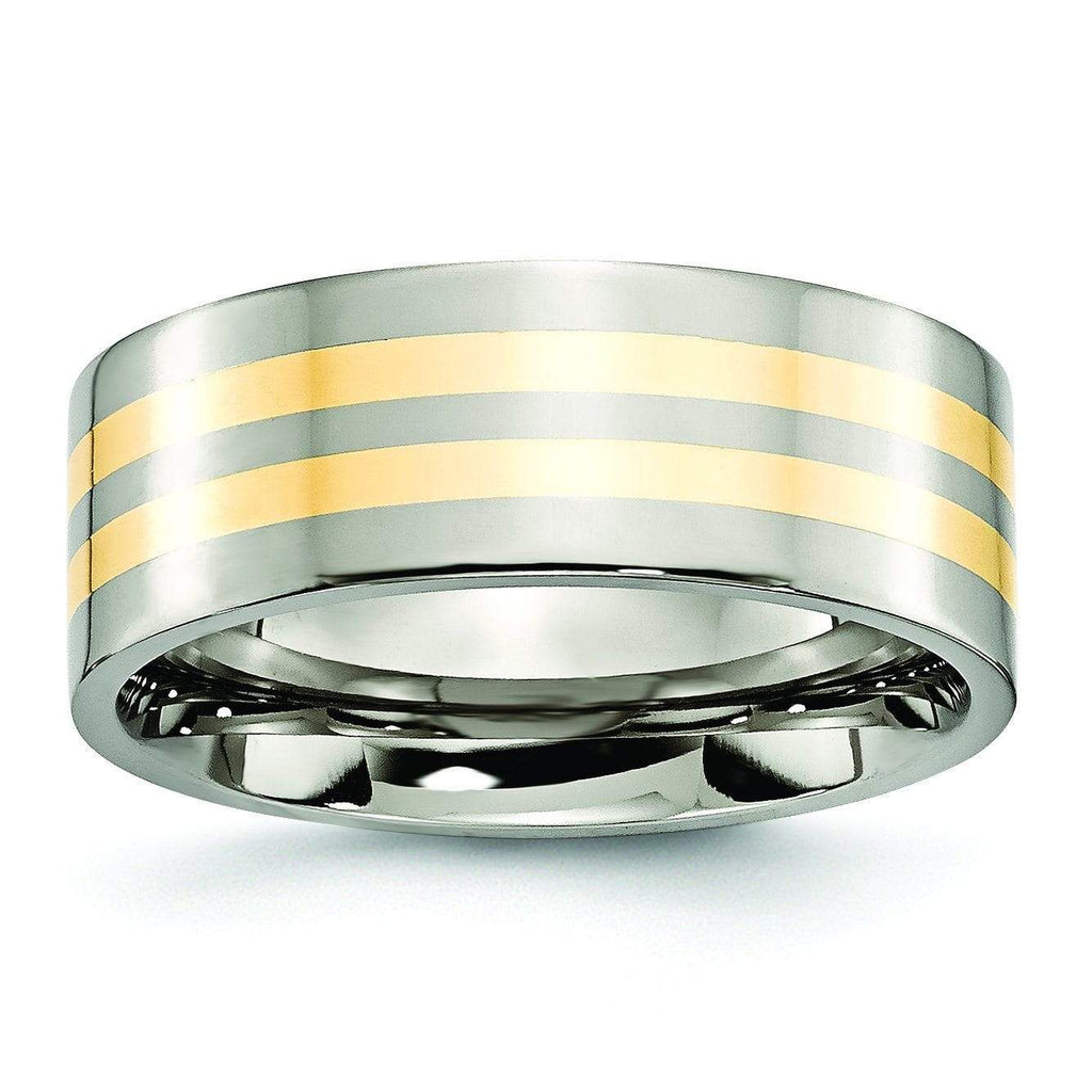 14k Yellow Gold Inlay Titanium Ring Flat Polished Finish in 8mm