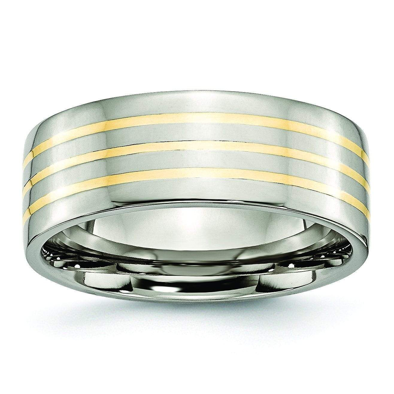 14k Yellow Gold Inlay Titanium Ring Flat Polished Finish 8mm Titanium Wedding Rings deBebians