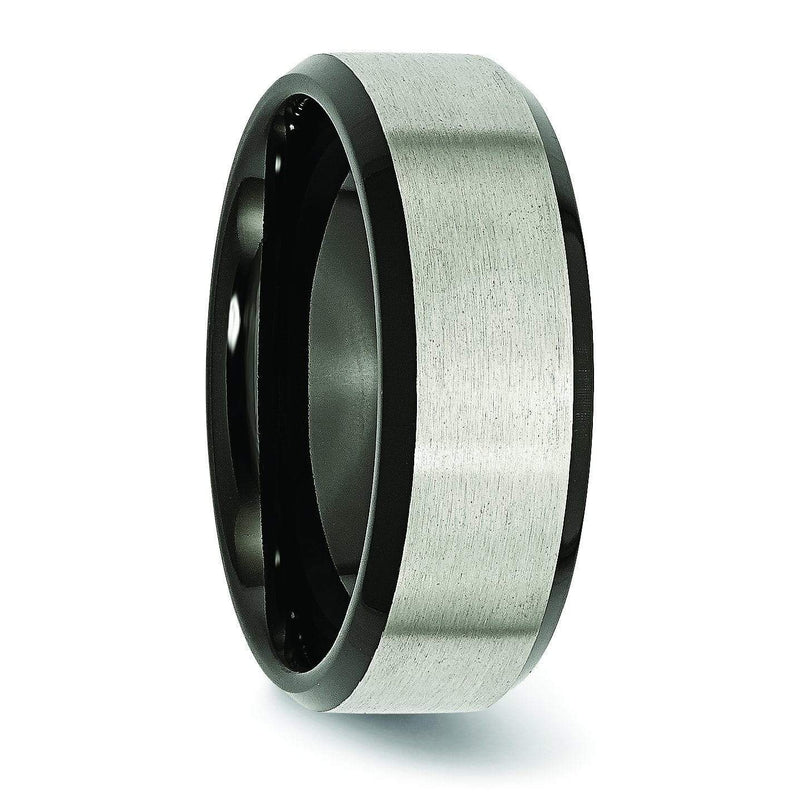 Titanium Ring with Black Edges & Matte Finish in 8mm Titanium Wedding Rings deBebians