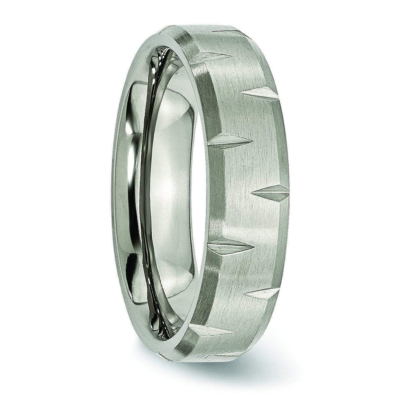 Notched Titanium Ring Matte Finish in 6mm Titanium Wedding Rings deBebians