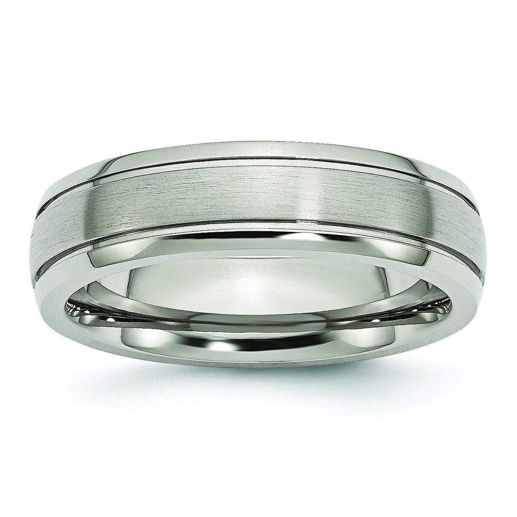 Grooved Edge Titanium Ring Matte & High Polish Finish 6mm