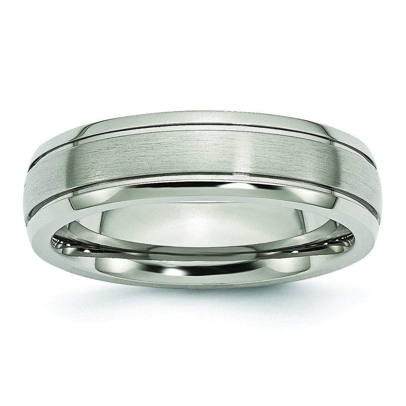 Grooved Edge Titanium Ring Matte & High Polish Finish 6mm Titanium Wedding Rings deBebians