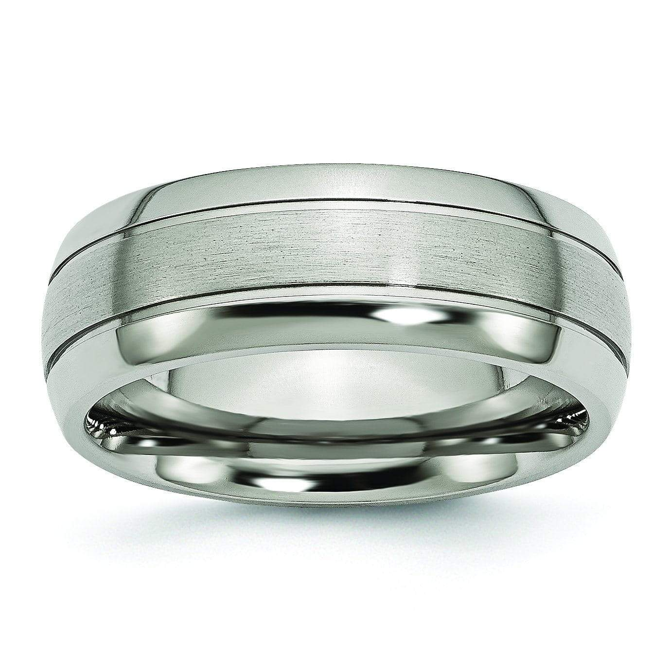 Grooved Aircraft Grade Titanium Band 8mm Titanium Wedding Rings deBebians