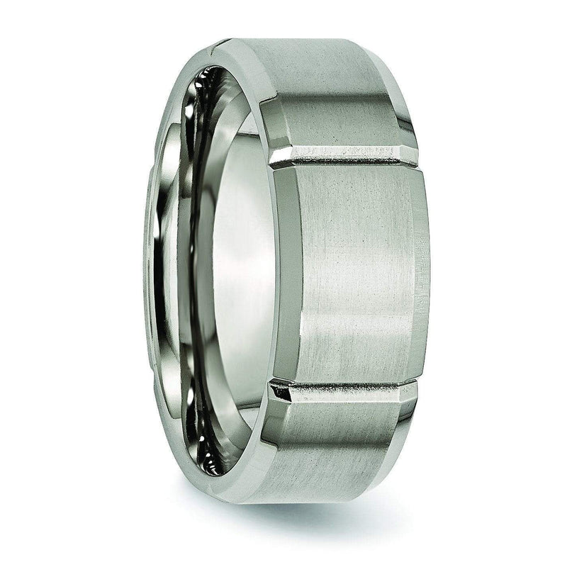 Grooved Mens Titanium Ring 8mm Titanium Wedding Rings deBebians