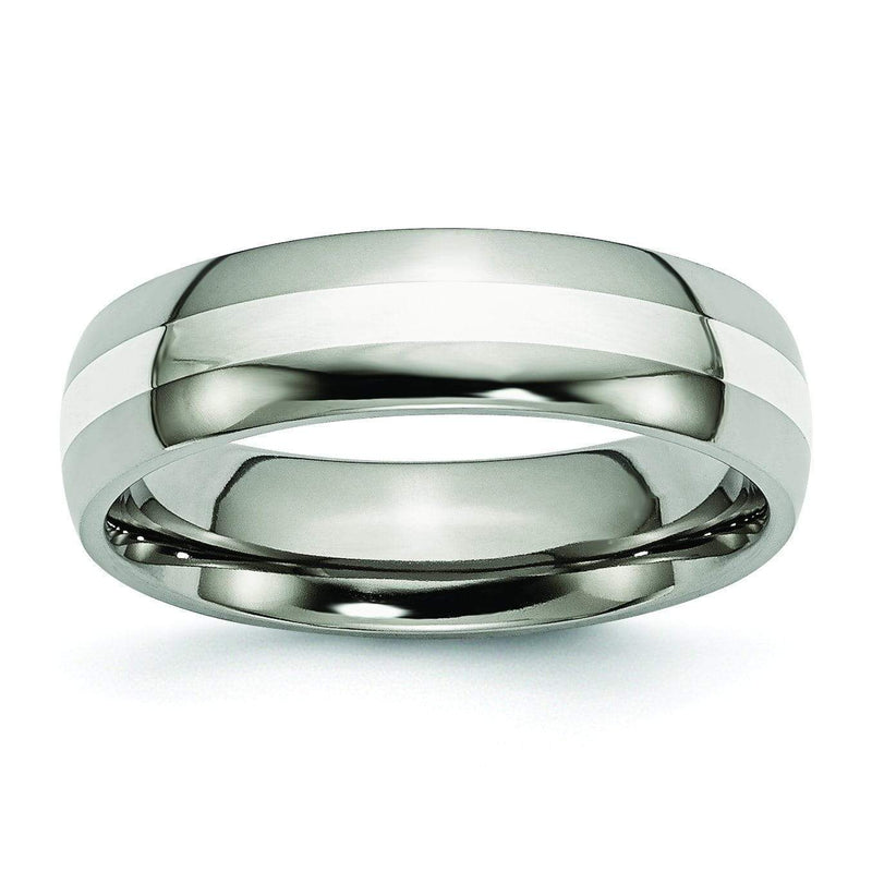 Titanium Ring Silver Inlay High Polish Finish in 6mm Titanium Wedding Rings deBebians