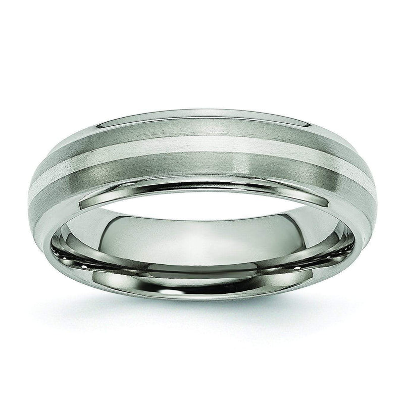 Titanium Ring Silver Inlay Matte and High Polish Finish in 6mm Titanium Wedding Rings deBebians