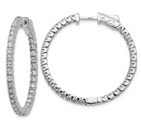 Inside Out Diamond Hoop Earrings Earrings deBebians 14k White Gold
