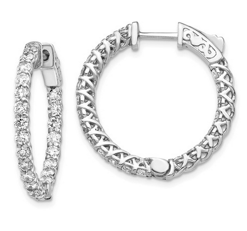 Diamond Inside Out Hoops with Trellis Design Earrings deBebians 14k White Gold