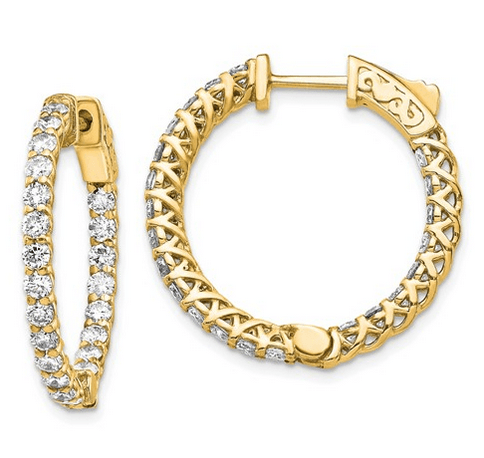Diamond Inside Out Hoops with Trellis Design Earrings deBebians 14k Yellow Gold
