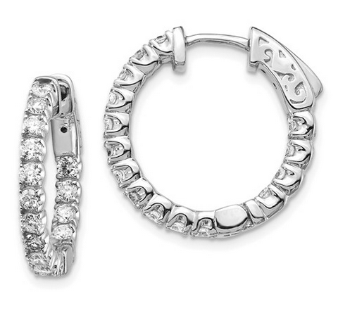 Inside Out Hoop Earrings with Diamonds Earrings deBebians 14k White Gold