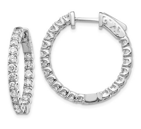 Diamond Hoops with Inside-Out Diamonds Earrings deBebians 14k White Gold