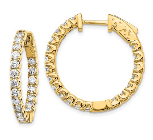 Diamond Hoops with Inside-Out Diamonds Earrings deBebians 14k Yellow Gold