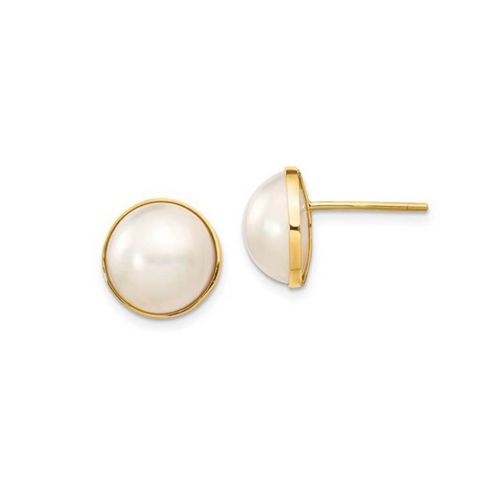 White Freshwater Cultured Pearl Mabe Earrings 9-10mm 14kt Yellow Gold Earrings deBebians