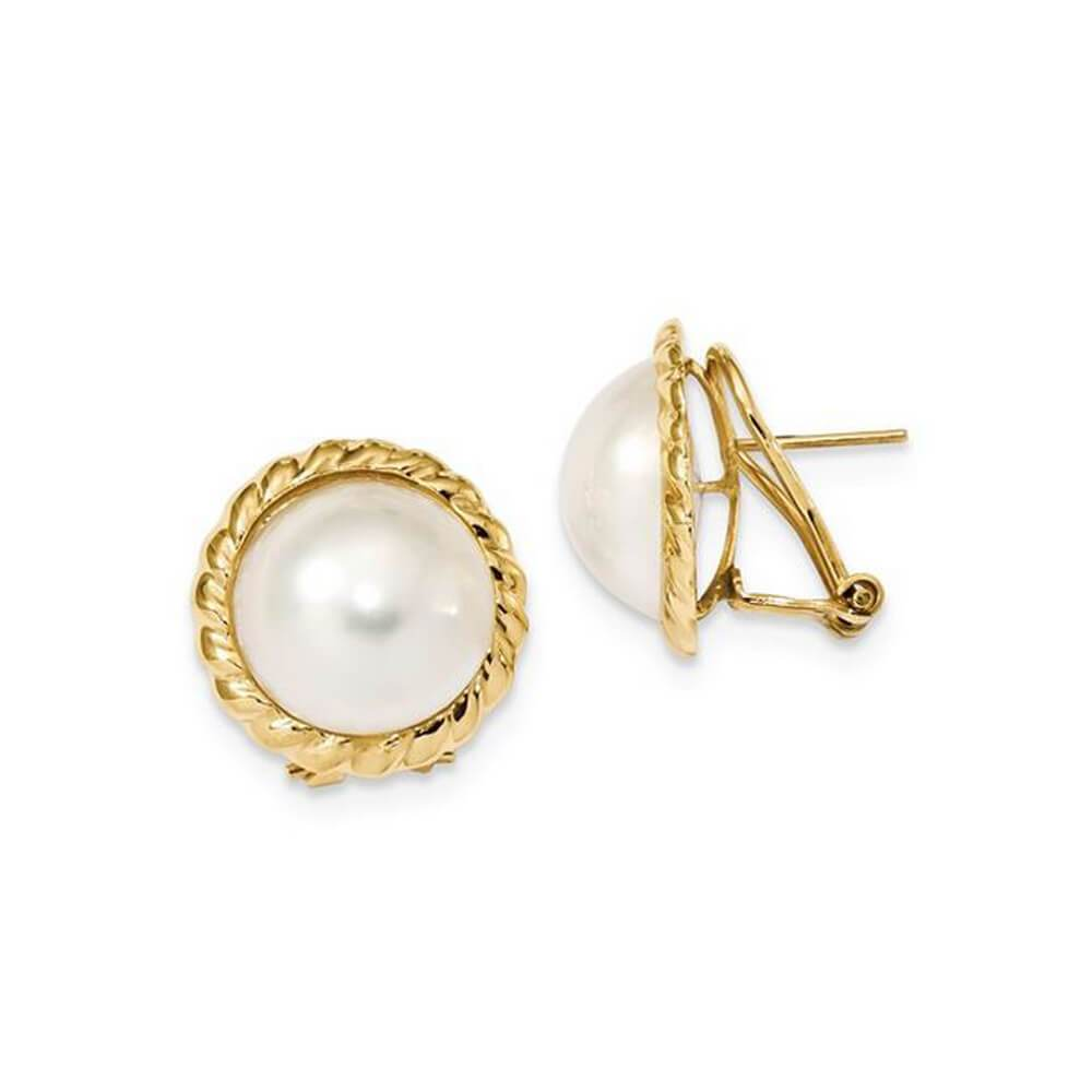 White Freshwater Cultured Mabe Pearl Earrings 13-14mm 14kt Yellow Gold Earrings deBebians