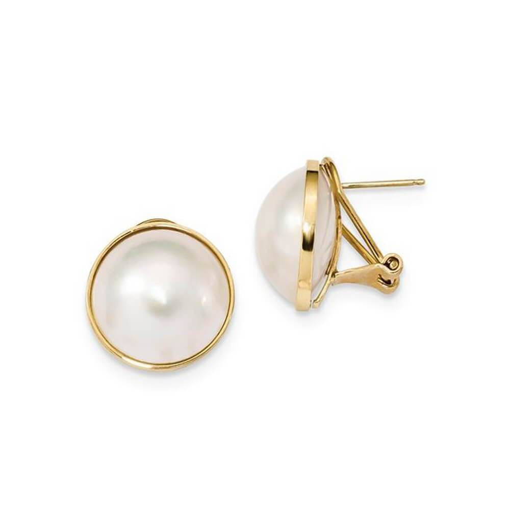 Freshwater Mabe Pearl Earrings 14-15mm with Omega Backs 14kt Yellow Gold Earrings deBebians