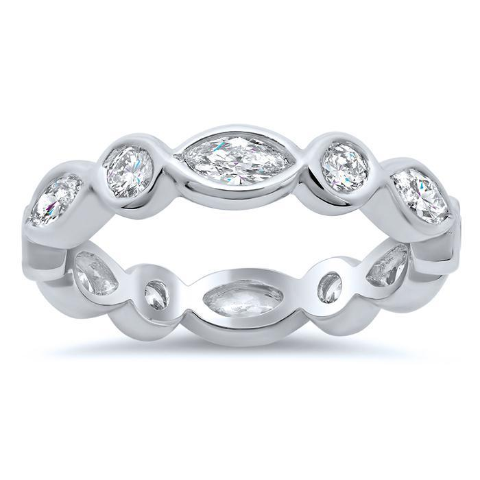 1.40cttw Round Bezel Diamond & Marquise Eternity Band Diamond Eternity Rings Debebians