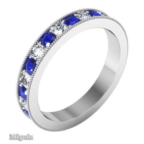 Alternating Blue Sapphire and Diamond Pave Eternity Band (1.30 cttw) Gemstone Eternity Rings deBebians